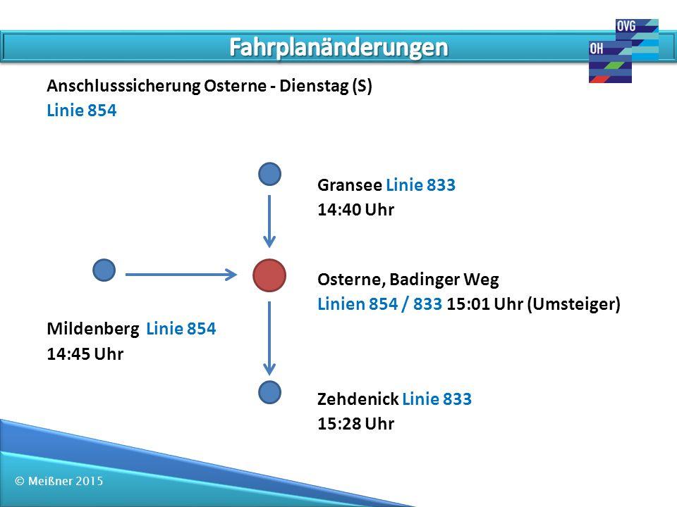 Fahrplanänderungen Anschlusssicherung Osterne - Dienstag (S) Linie 854