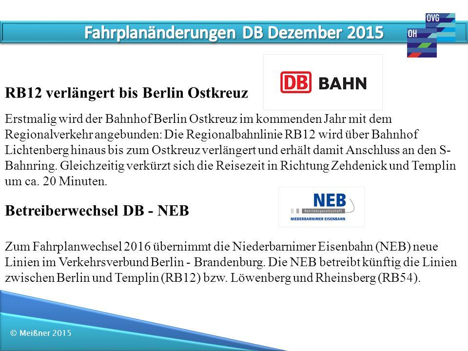 Fahrplanänderungen DB Dezember 2015