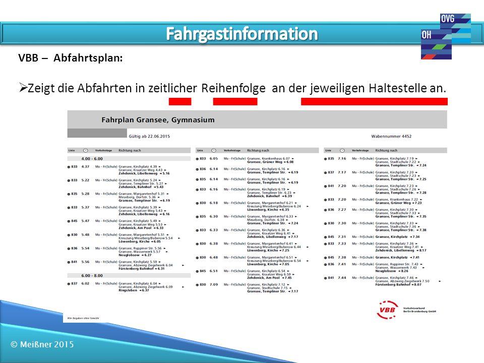 Fahrgastinformation VBB – Abfahrtsplan: Zeigt die Abfahrten in zeitlicher Reihenfolge an der jeweiligen Haltestelle an.