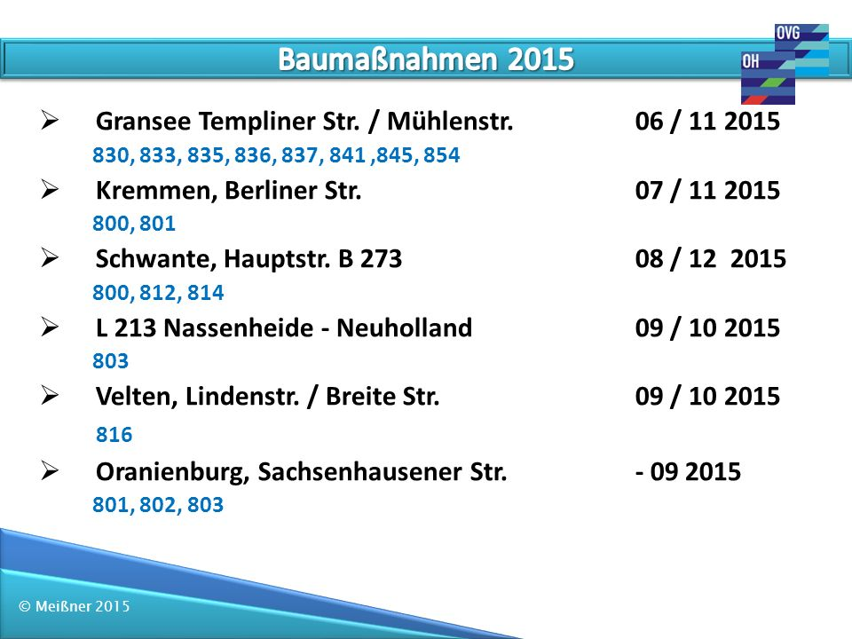 Baumaßnahmen 2015 Gransee Templiner Str. / Mühlenstr. 06 / 11 2015