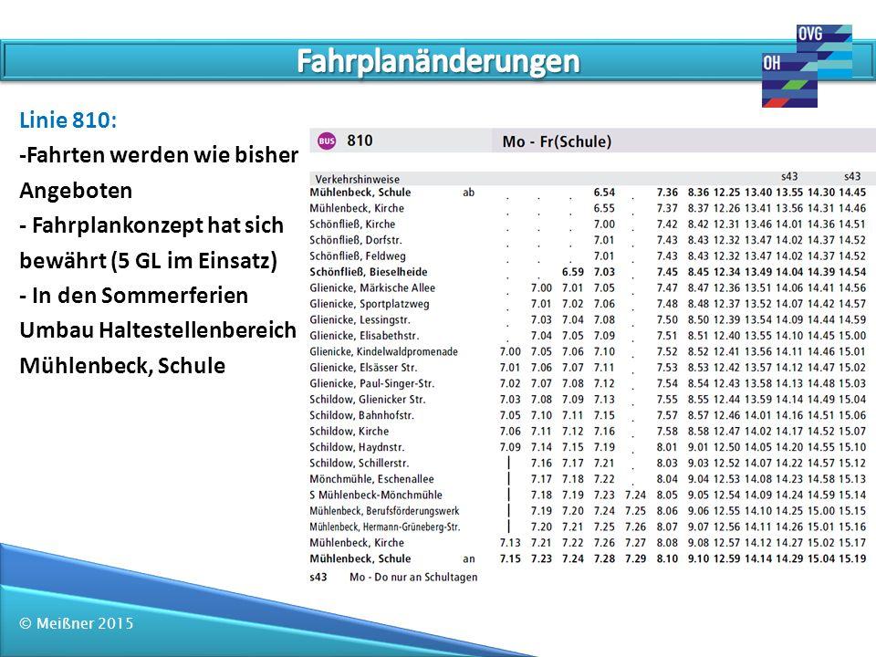 Fahrplanänderungen Linie 810: -Fahrten werden wie bisher Angeboten