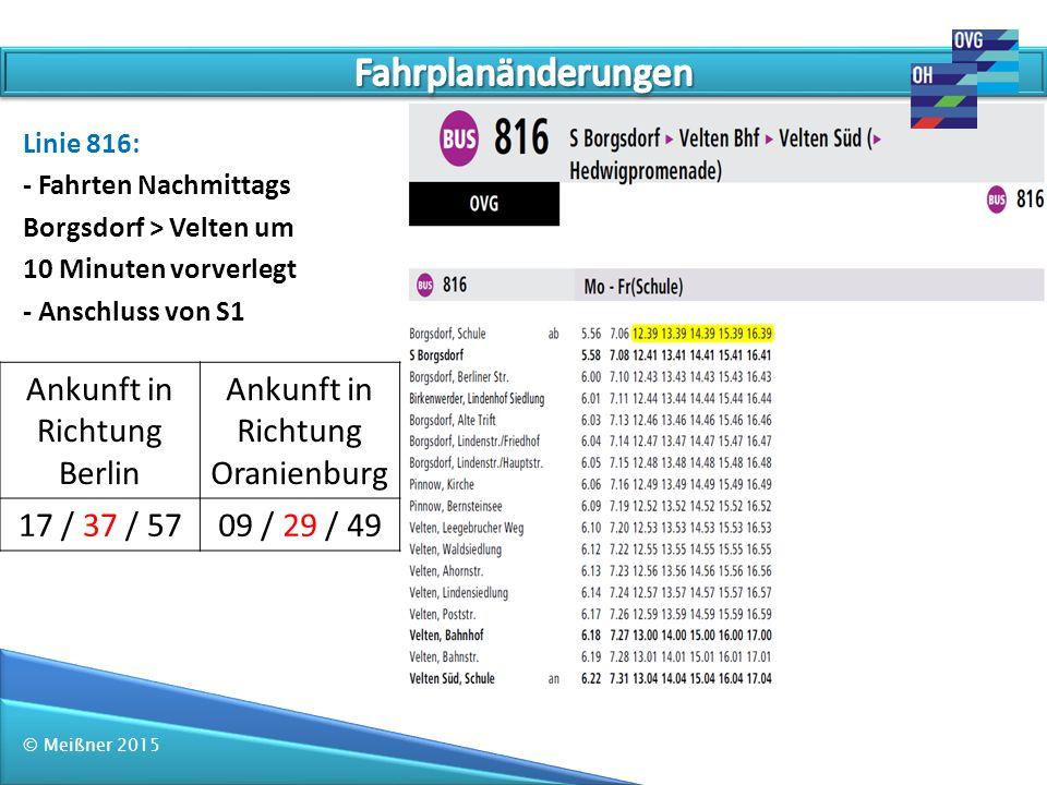 Fahrplanänderungen Ankunft in Richtung Berlin