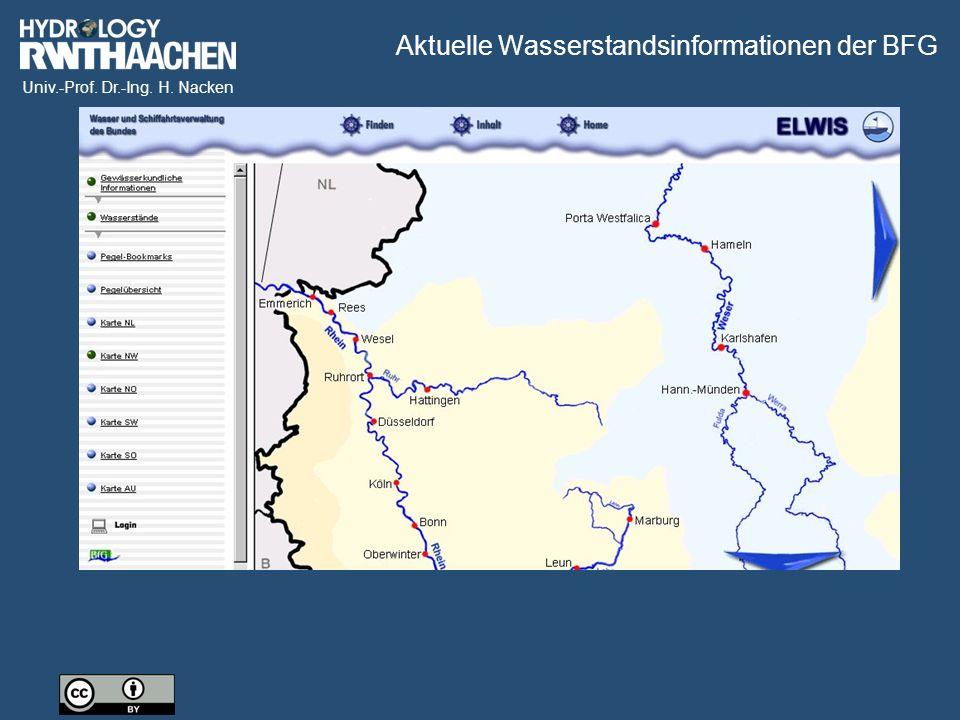 Aktuelle Wasserstandsinformationen der BFG