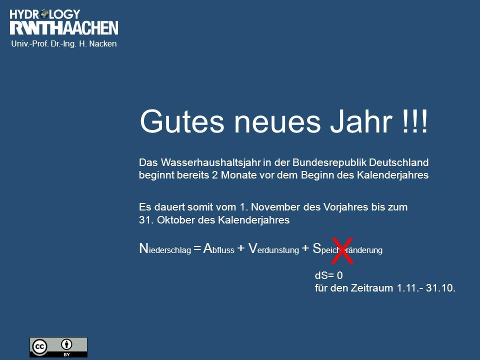 Gutes neues Jahr !!! Das Wasserhaushaltsjahr in der Bundesrepublik Deutschland beginnt bereits 2 Monate vor dem Beginn des Kalenderjahres.