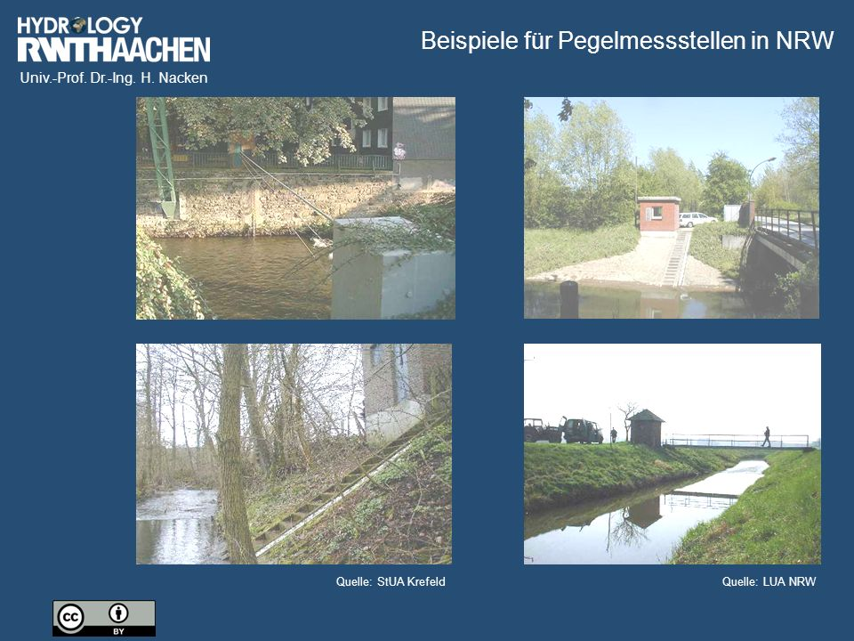 Beispiele für Pegelmessstellen in NRW