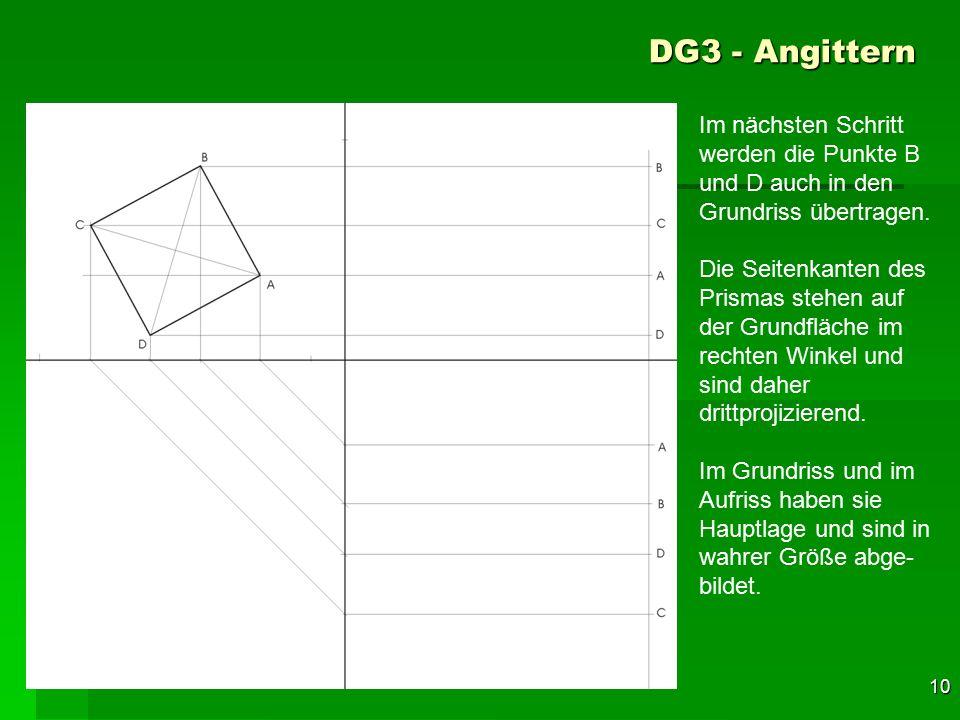 DG3 - Angittern Im nächsten Schritt werden die Punkte B und D auch in den Grundriss übertragen.
