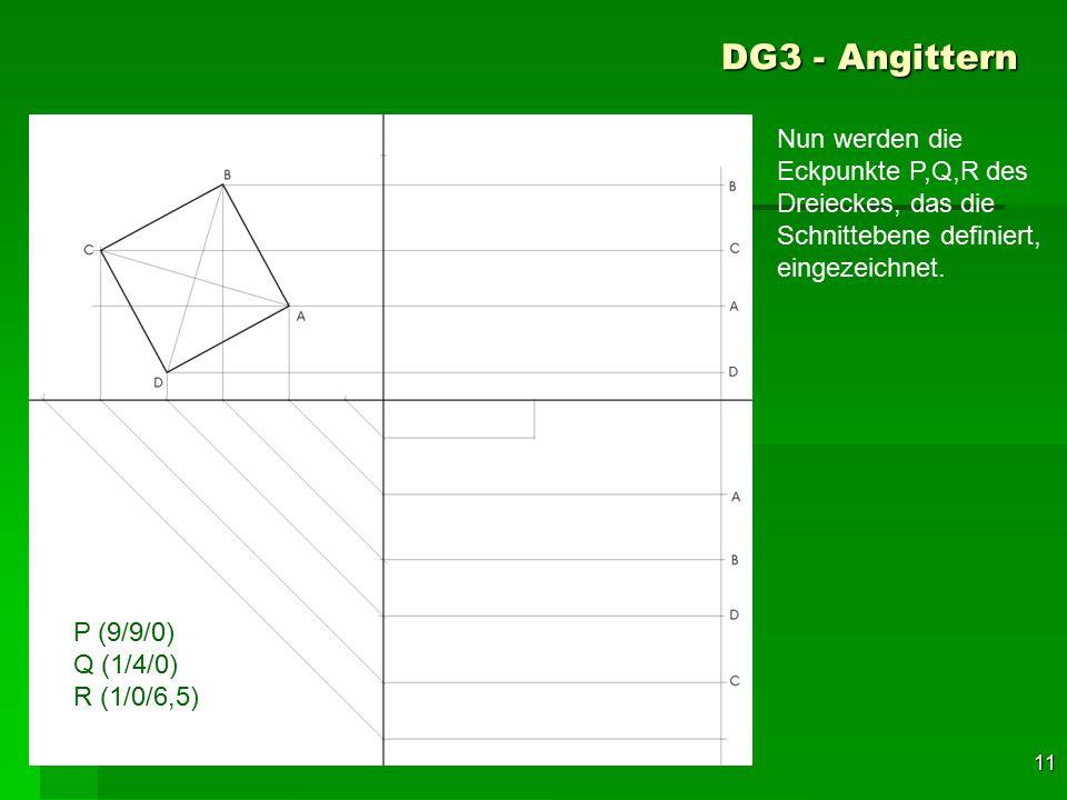 DG3 - Angittern Nun werden die Eckpunkte P,Q,R des Dreieckes, das die Schnittebene definiert, eingezeichnet.
