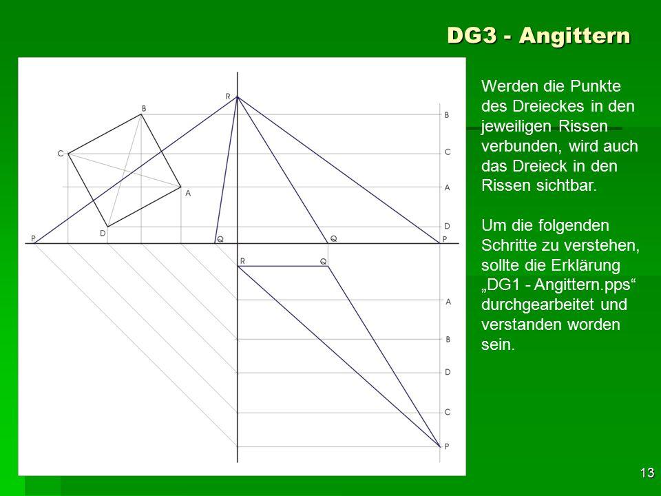DG3 - Angittern Werden die Punkte des Dreieckes in den jeweiligen Rissen verbunden, wird auch das Dreieck in den Rissen sichtbar.