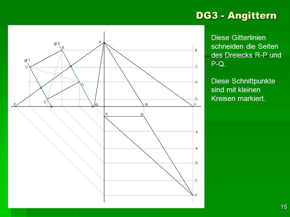 DG3 - Angittern Diese Gitterlinien schneiden die Seiten des Dreiecks R-P und P-Q. Diese Schnittpunkte sind mit kleinen Kreisen markiert.