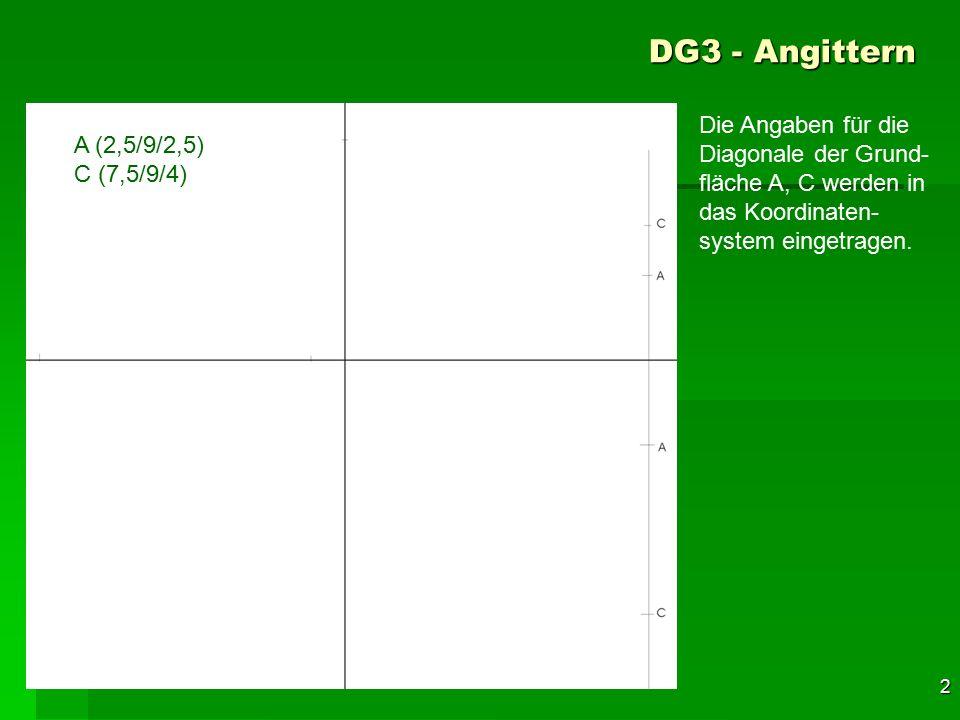 DG3 - Angittern Die Angaben für die Diagonale der Grund-fläche A, C werden in das Koordinaten-system eingetragen.