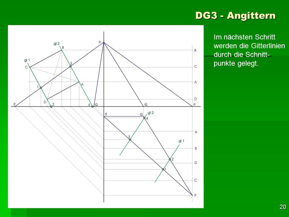 DG3 - Angittern Im nächsten Schritt werden die Gitterlinien durch die Schnitt-punkte gelegt. 50 F