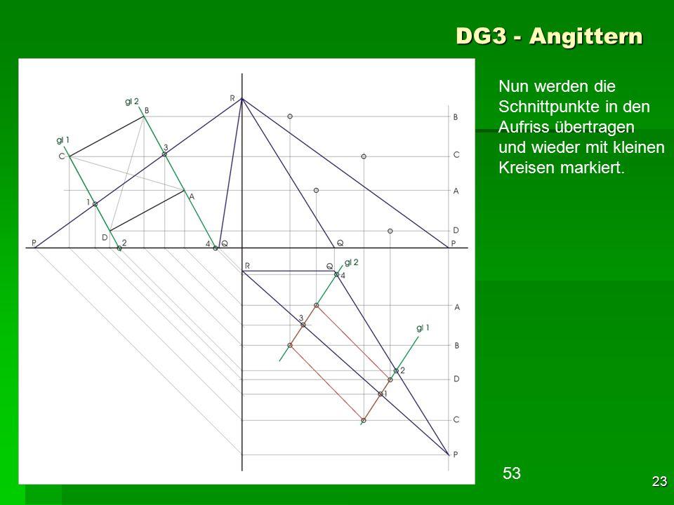 DG3 - Angittern Nun werden die Schnittpunkte in den Aufriss übertragen und wieder mit kleinen Kreisen markiert.