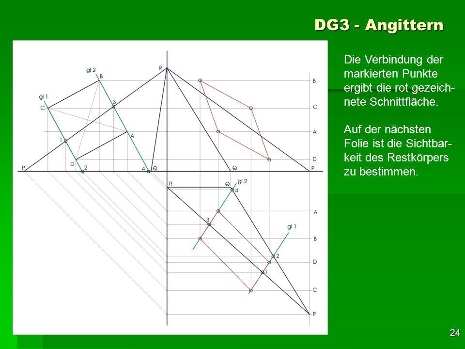 DG3 - Angittern Die Verbindung der markierten Punkte ergibt die rot gezeich-nete Schnittfläche.