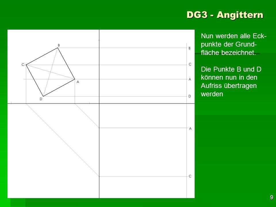 DG3 - Angittern Nun werden alle Eck-punkte der Grund-fläche bezeichnet. Die Punkte B und D können nun in den Aufriss übertragen werden.