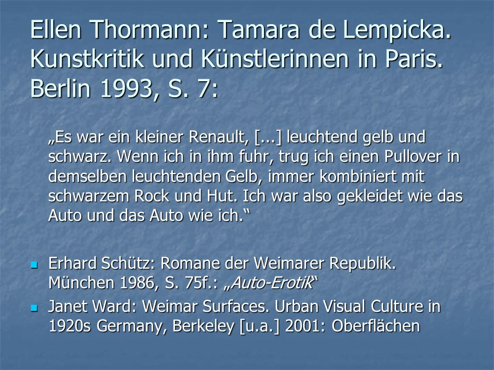 Ellen Thormann: Tamara de Lempicka