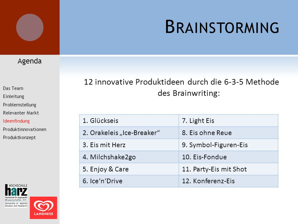12 innovative Produktideen durch die 6-3-5 Methode des Brainwriting: