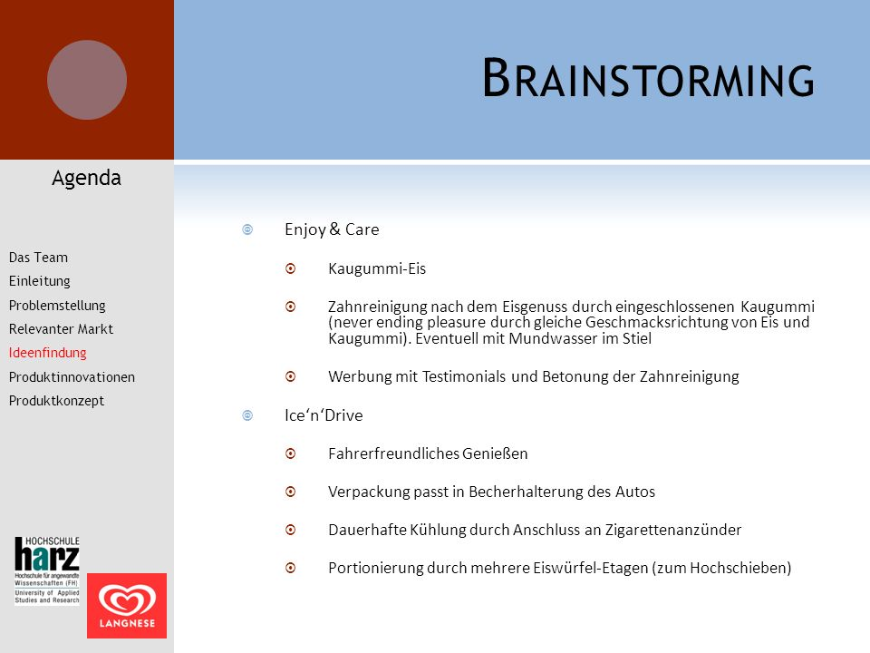Brainstorming Agenda Enjoy & Care Ice'n'Drive Kaugummi-Eis