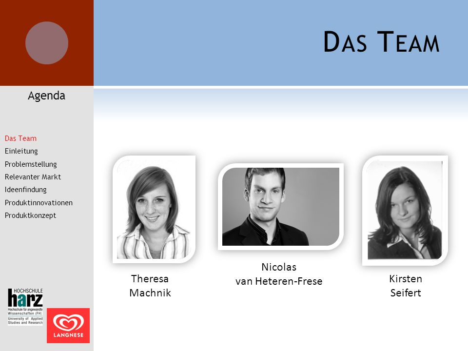 Das Team Agenda Nicolas van Heteren-Frese Theresa Machnik