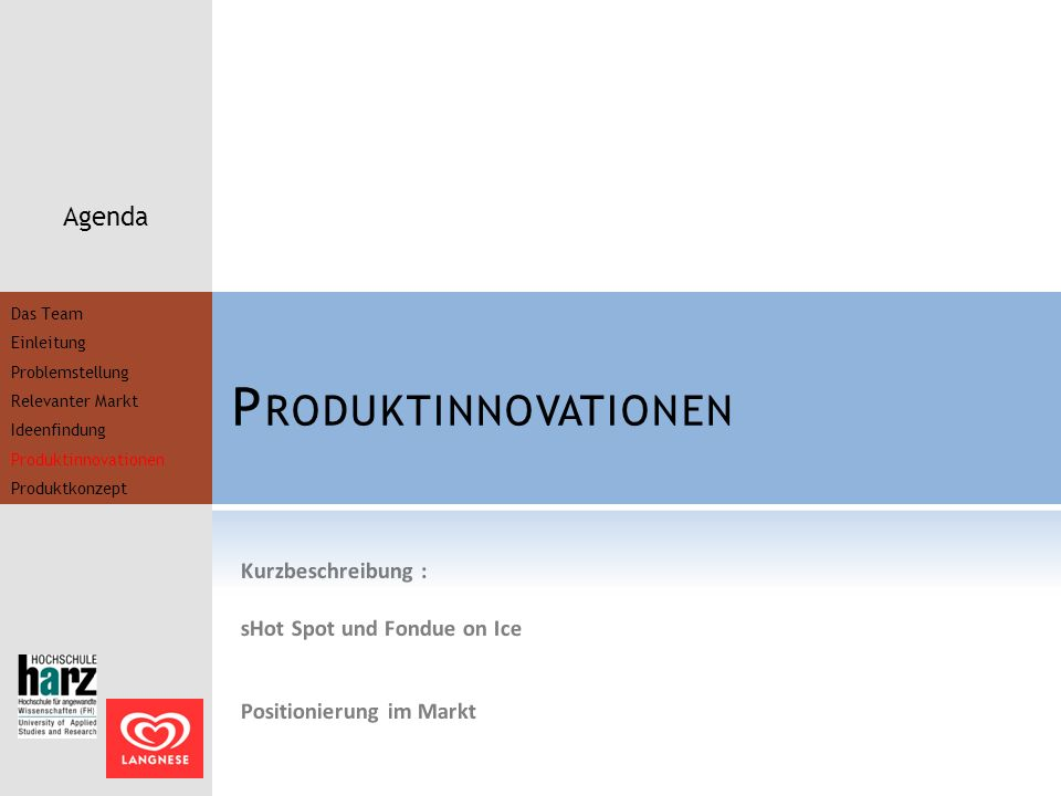 Produktinnovationen Agenda