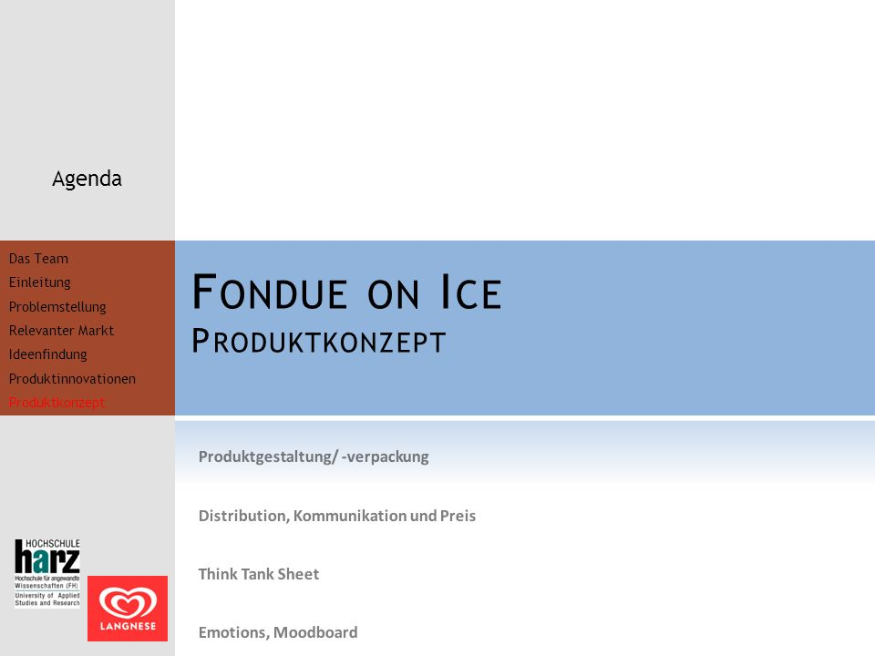 Fondue on Ice Produktkonzept