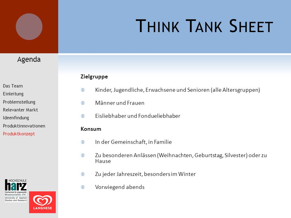 Think Tank Sheet Agenda Zielgruppe