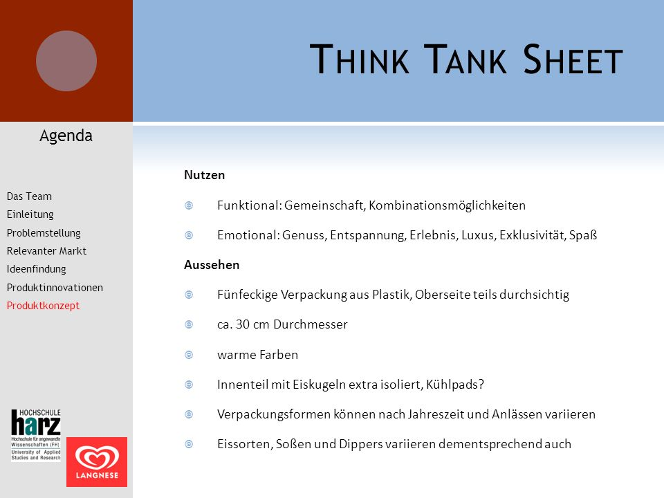 Think Tank Sheet Agenda Nutzen