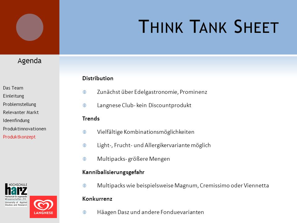 Think Tank Sheet Agenda Distribution