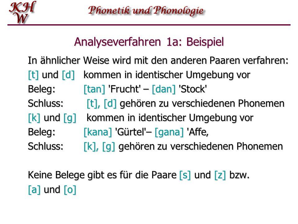 Analyseverfahren 1a: Beispiel