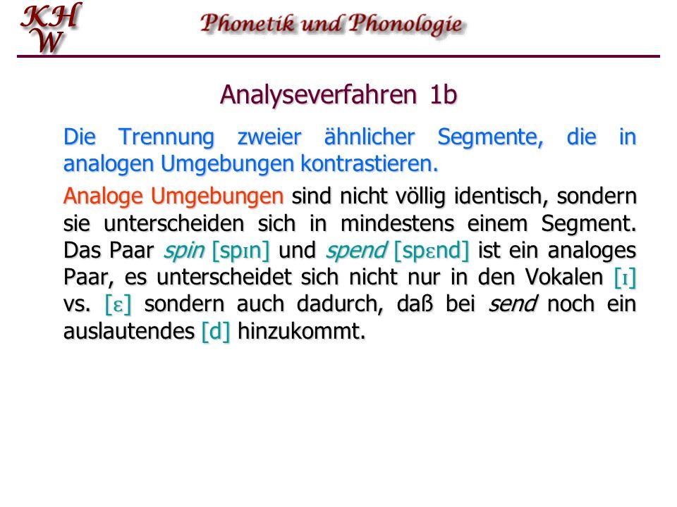 Analyseverfahren 1b Die Trennung zweier ähnlicher Segmente, die in analogen Umgebungen kontrastieren.