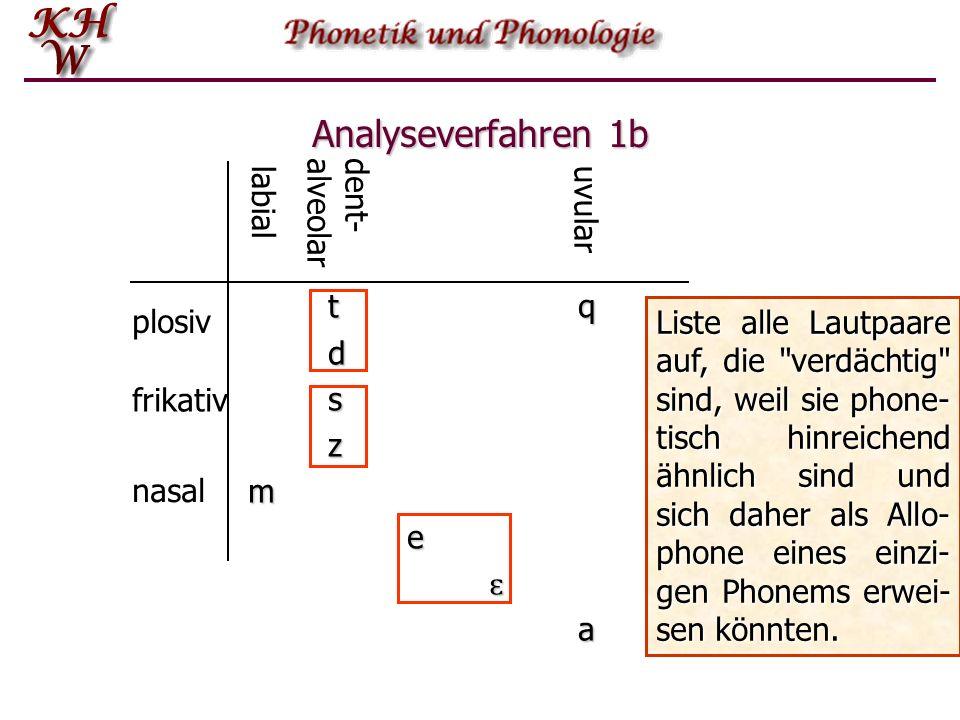 Analyseverfahren 1b dent-alveolar labial uvular t q d s z m e ɛ a