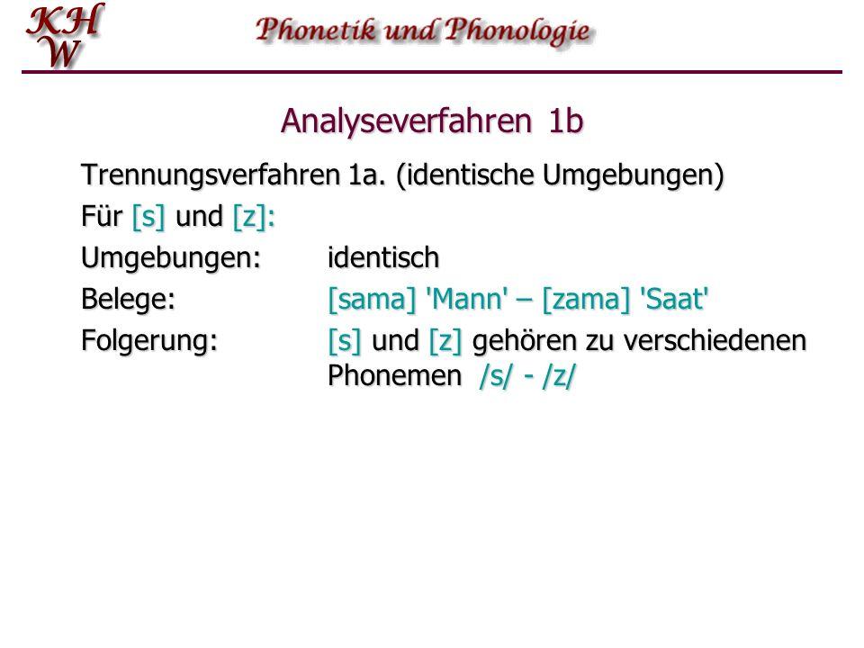 Analyseverfahren 1b Trennungsverfahren 1a. (identische Umgebungen)