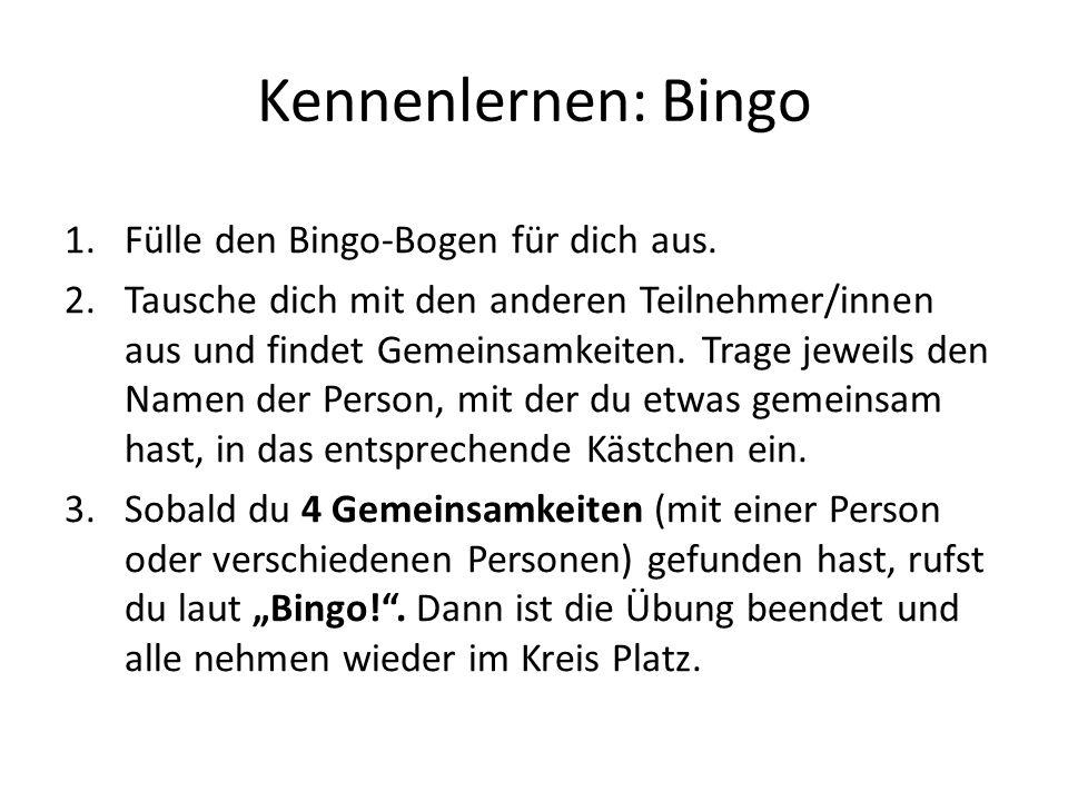 Kennenlernen: Bingo Fülle den Bingo-Bogen für dich aus.