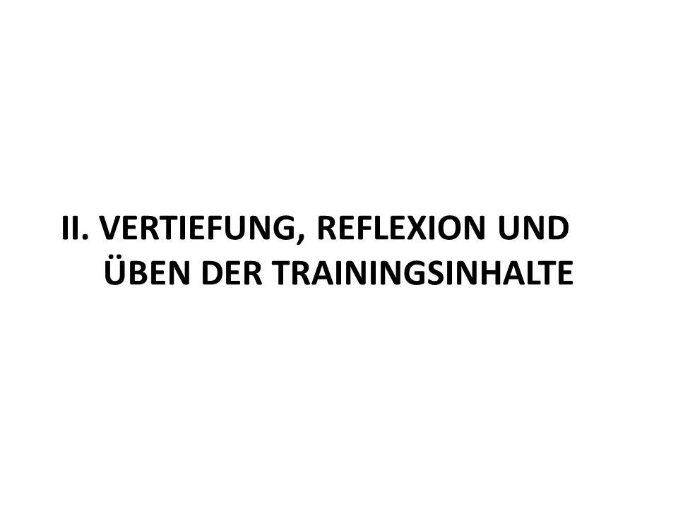 II. Vertiefung, Reflexion und Üben der Trainingsinhalte