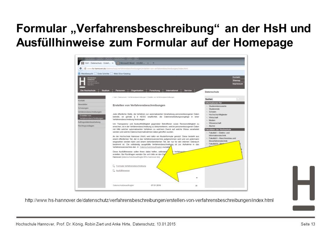 """Formular """"Verfahrensbeschreibung an der HsH und Ausfüllhinweise zum Formular auf der Homepage"""