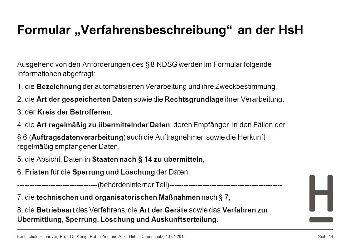 """Formular """"Verfahrensbeschreibung an der HsH"""