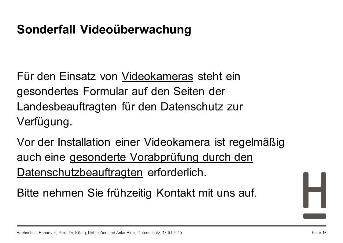 Sonderfall Videoüberwachung
