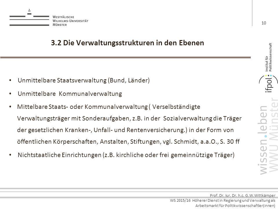3.2 Die Verwaltungsstrukturen in den Ebenen