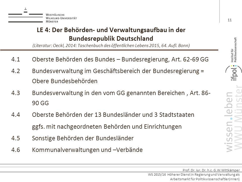 LE 4: Der Behörden- und Verwaltungsaufbau in der Bundesrepublik Deutschland (Literatur: Oeckl, 2014: Taschenbuch des öffentlichen Lebens 2015, 64. Aufl. Bonn)