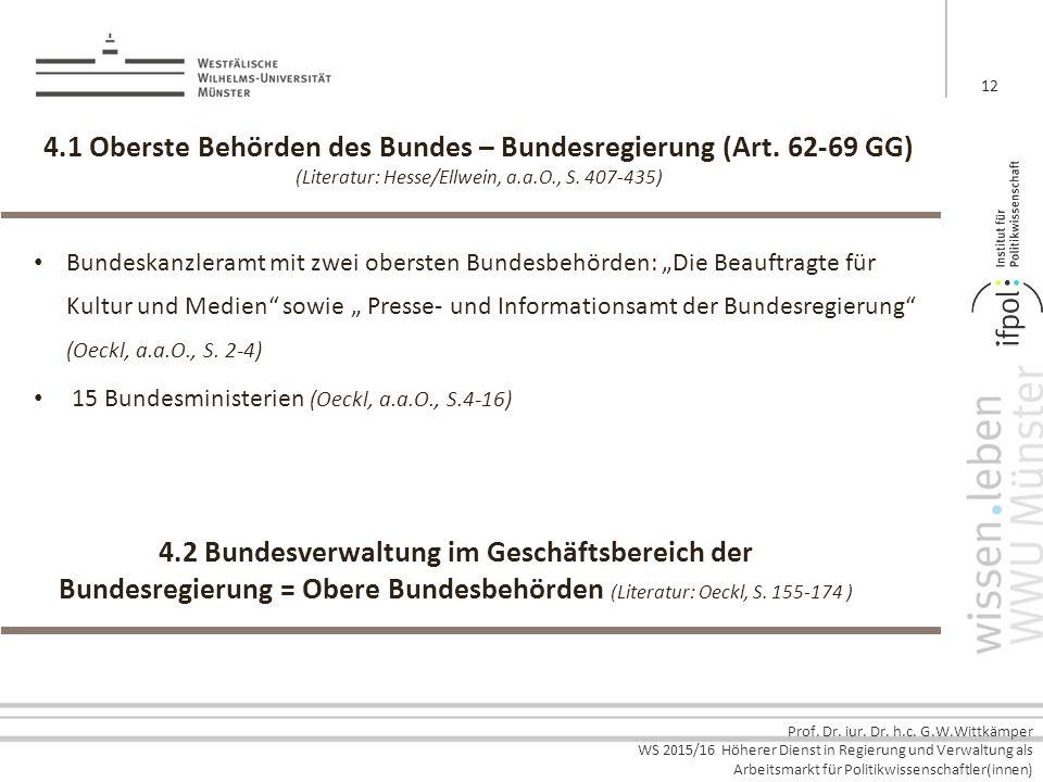 4.2 Bundesverwaltung im Geschäftsbereich der