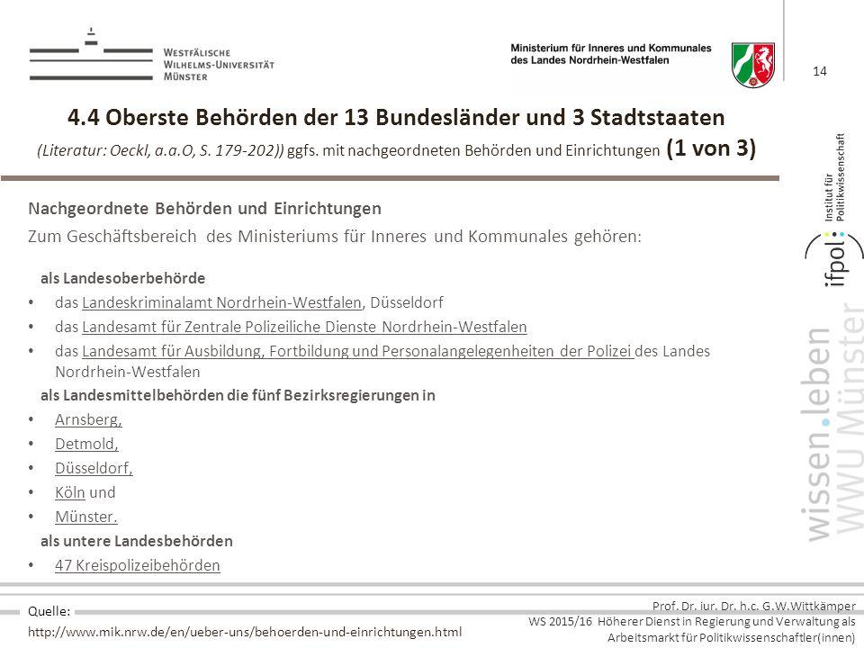 4.4 Oberste Behörden der 13 Bundesländer und 3 Stadtstaaten (Literatur: Oeckl, a.a.O, S. 179-202)) ggfs. mit nachgeordneten Behörden und Einrichtungen (1 von 3)