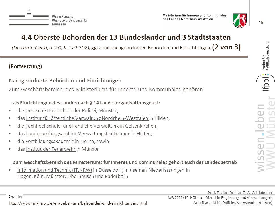 4.4 Oberste Behörden der 13 Bundesländer und 3 Stadtstaaten (Literatur: Oeckl, a.a.O, S. 179-202)) ggfs. mit nachgeordneten Behörden und Einrichtungen (2 von 3)