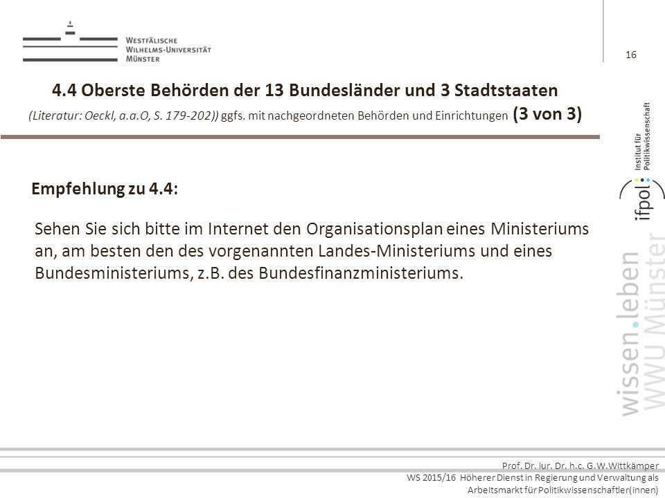 4.4 Oberste Behörden der 13 Bundesländer und 3 Stadtstaaten (Literatur: Oeckl, a.a.O, S. 179-202)) ggfs. mit nachgeordneten Behörden und Einrichtungen (3 von 3)