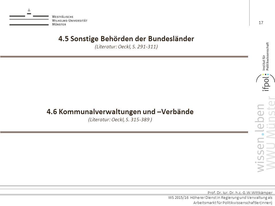 4.5 Sonstige Behörden der Bundesländer (Literatur: Oeckl, S. 291-311)