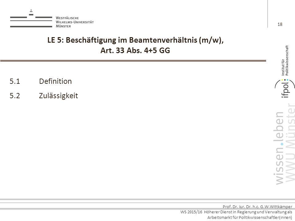LE 5: Beschäftigung im Beamtenverhältnis (m/w), Art. 33 Abs. 4+5 GG