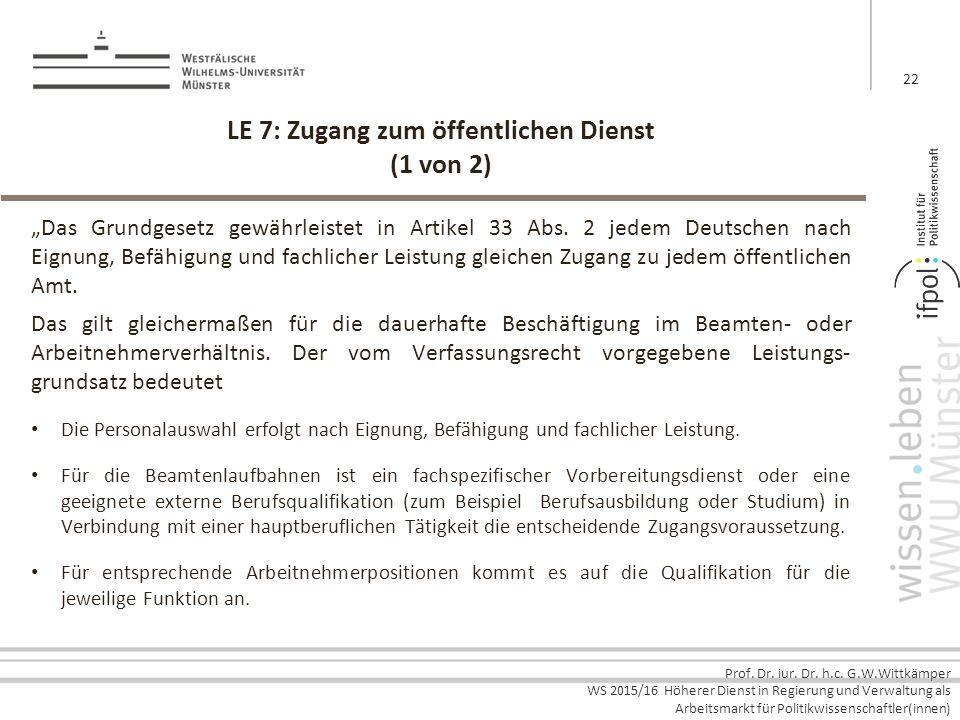 LE 7: Zugang zum öffentlichen Dienst (1 von 2)