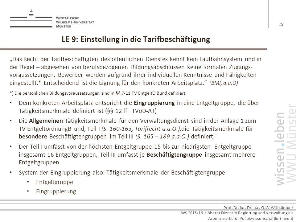 LE 9: Einstellung in die Tarifbeschäftigung