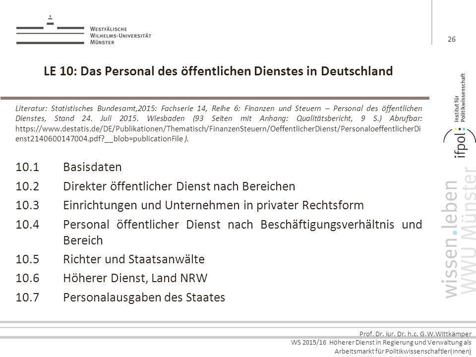 LE 10: Das Personal des öffentlichen Dienstes in Deutschland