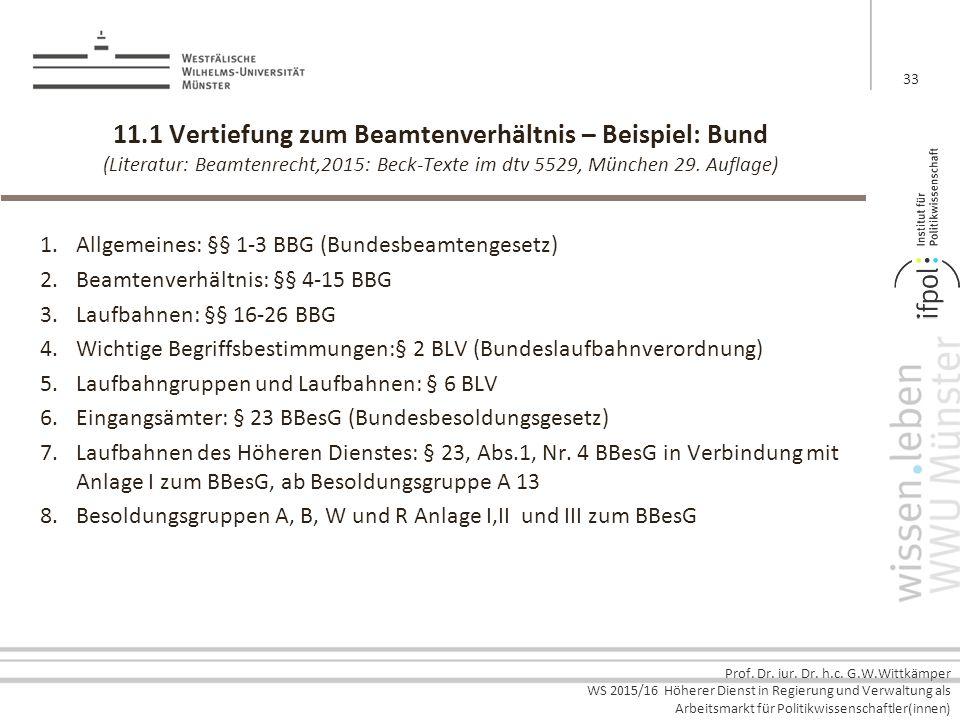 11.1 Vertiefung zum Beamtenverhältnis – Beispiel: Bund (Literatur: Beamtenrecht,2015: Beck-Texte im dtv 5529, München 29. Auflage)