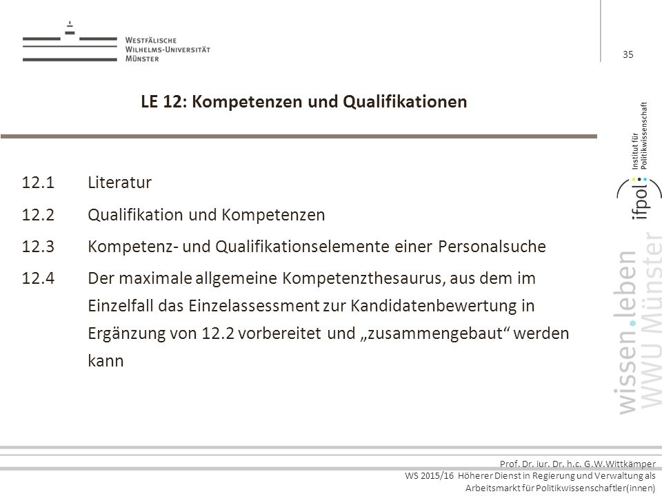 LE 12: Kompetenzen und Qualifikationen