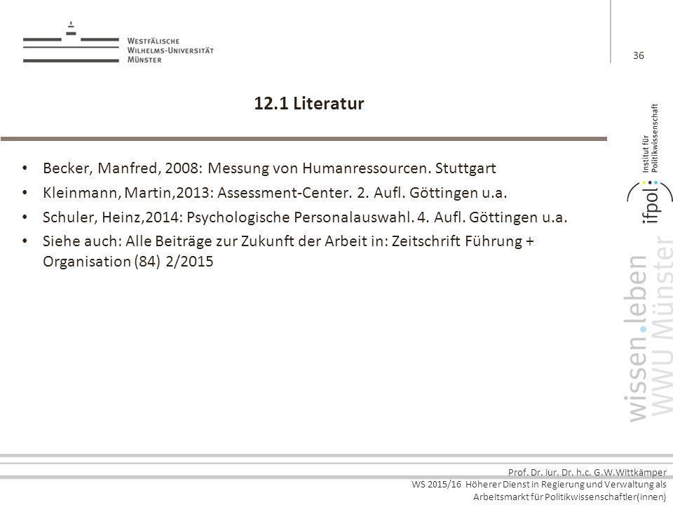 12.1 Literatur Becker, Manfred, 2008: Messung von Humanressourcen. Stuttgart. Kleinmann, Martin,2013: Assessment-Center. 2. Aufl. Göttingen u.a.